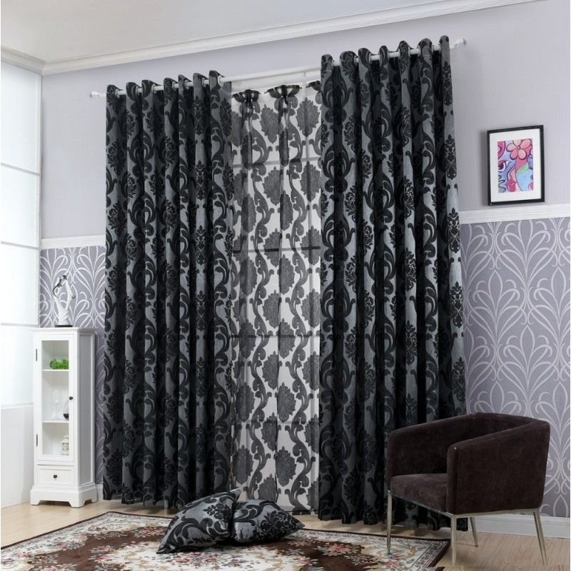 rideau occultant noir large court et long rideaux design pas cher. Black Bedroom Furniture Sets. Home Design Ideas